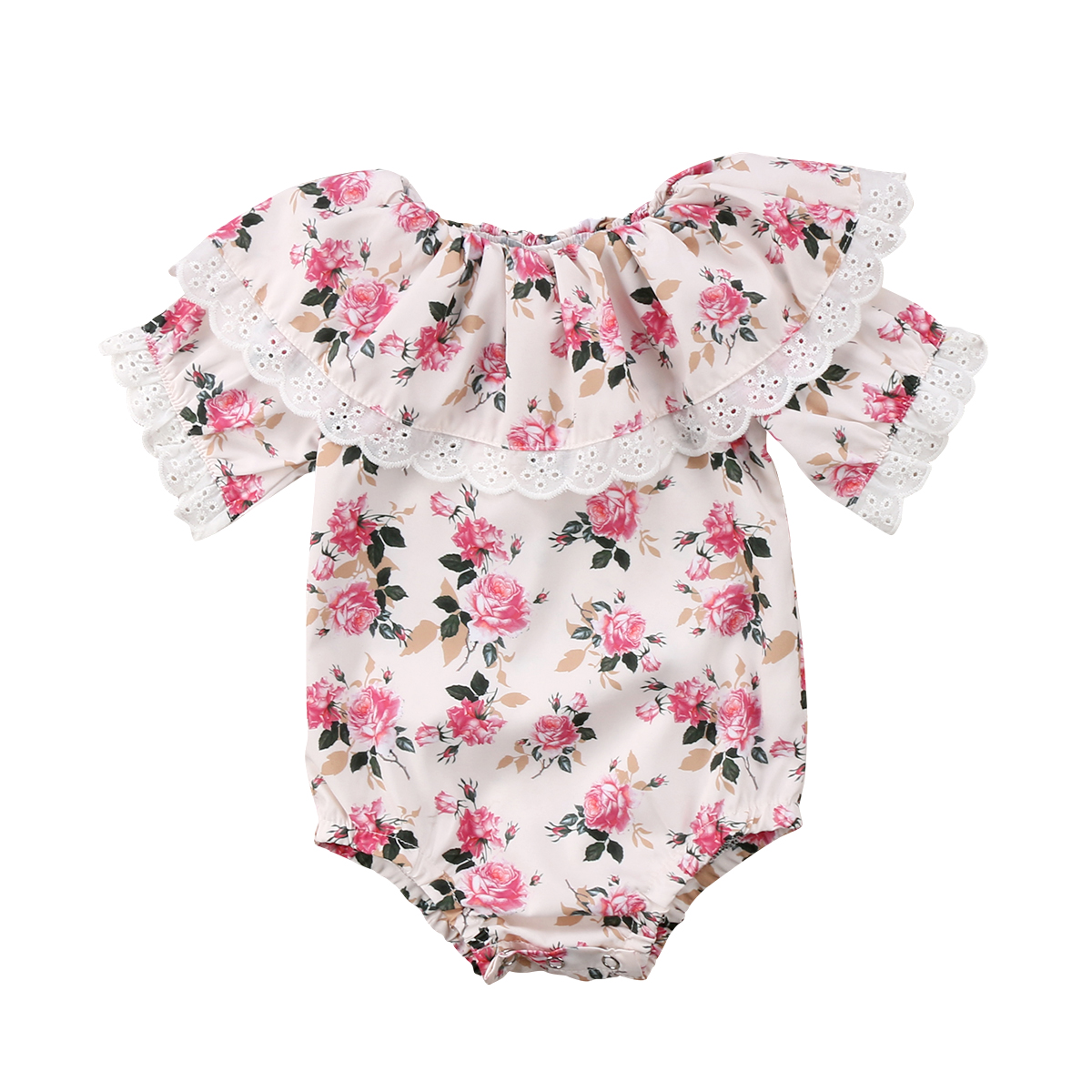 Pudcoco Newborn Baby Girls Rompers Lace Floral Jumpsuit Cotton infant baby girls Short sleeves Outfits Sunsuit Clothes