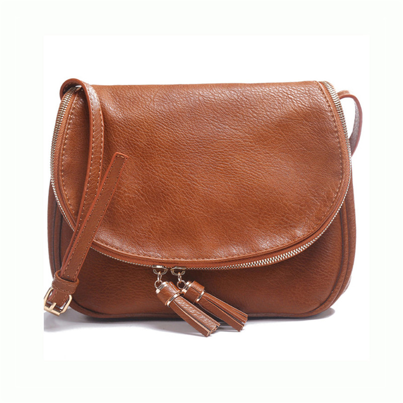 Women Shoulder Bags Retro Minimalist Messenger Bag Women Leather Handbag With Tassel Famous Brand Female Casual Cross Body Bags