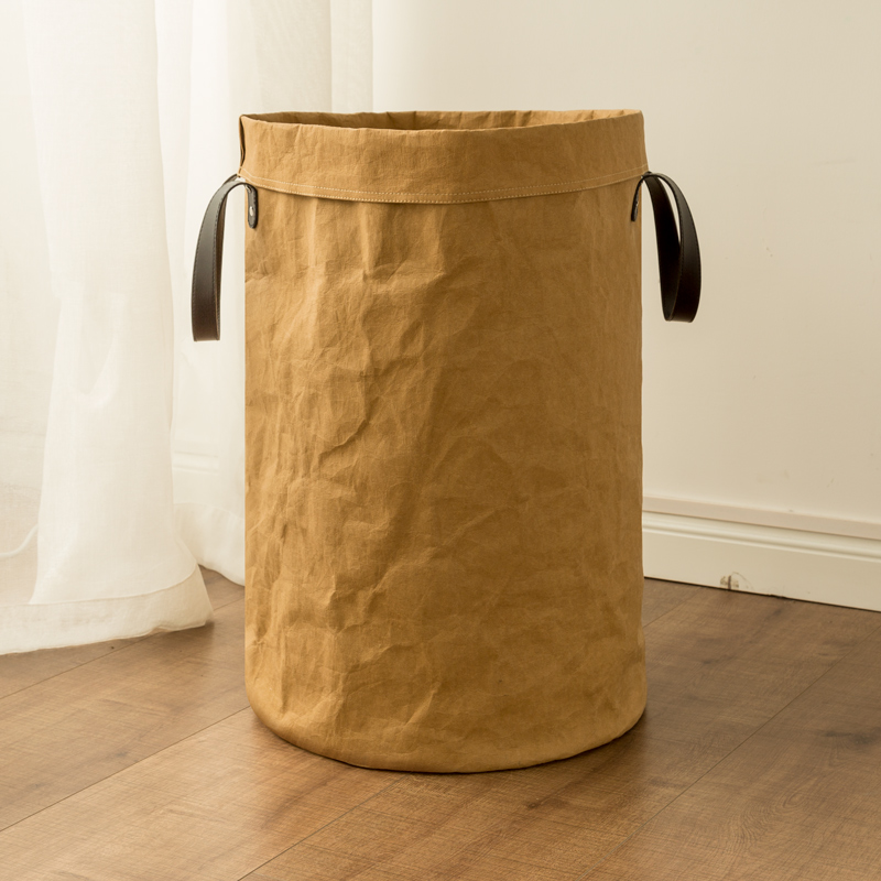 Large Kraft Paper Bag Picnic Storage Basket Durable Kids Toy Storage Box  Multifunction Home Storage Organization Bin Handle