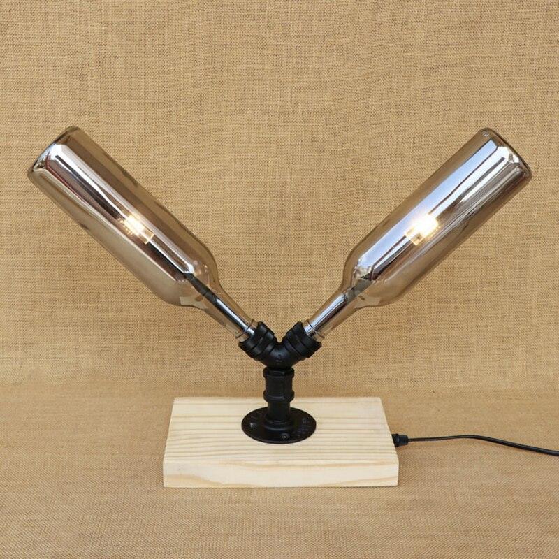 Modern industry G4 light bulb glass Bottle lampshade desk lamp wood base table light for bedroom bedside study 220V living room
