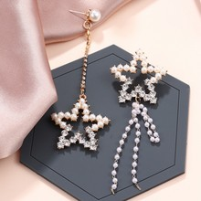 2019 Hot Sell High Quality Elegant Temperament Pearl Star Tassel Earrings Female