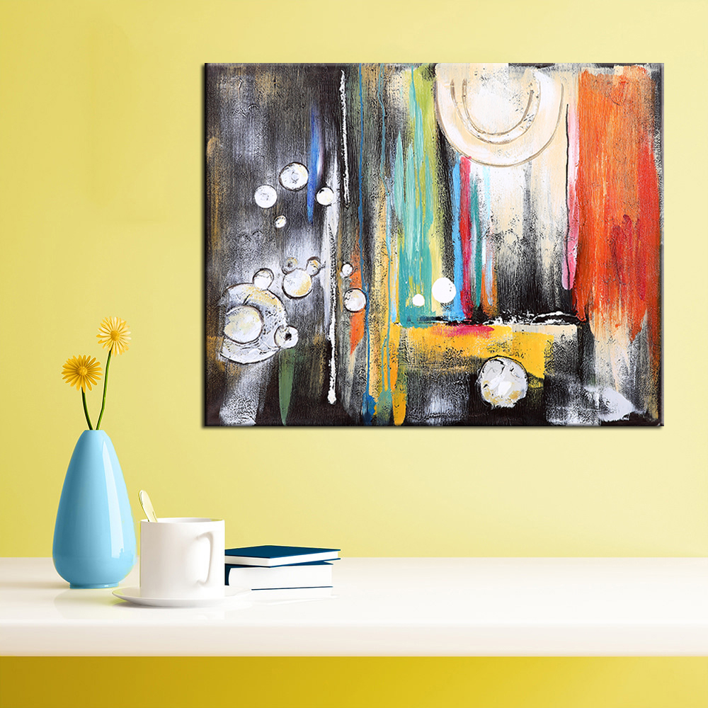 Hand Painted Modern Abstract Black White Oil Painting Colorful Wall ...