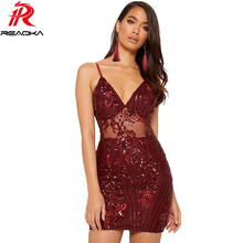 Sexy see through Sequin Dress women Sparkling V neck bandage Summer dress elegant Gold red Nightclub Party Dresses Midi vestido
