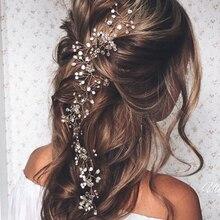 Модные свадебные аксессуары для волос с искусственным жемчугом, ободки для невесты, Хрустальная корона с цветочным рисунком, элегантная заколка с украшениями