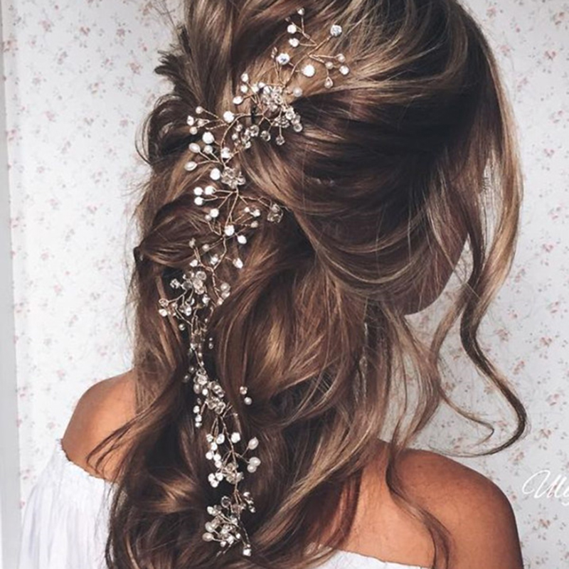 Fashion Wedding Hair Accessories Simulated Pearl Haedbands for Bride Crystal Crown Floral Elegant Hair Ornaments Hairpin