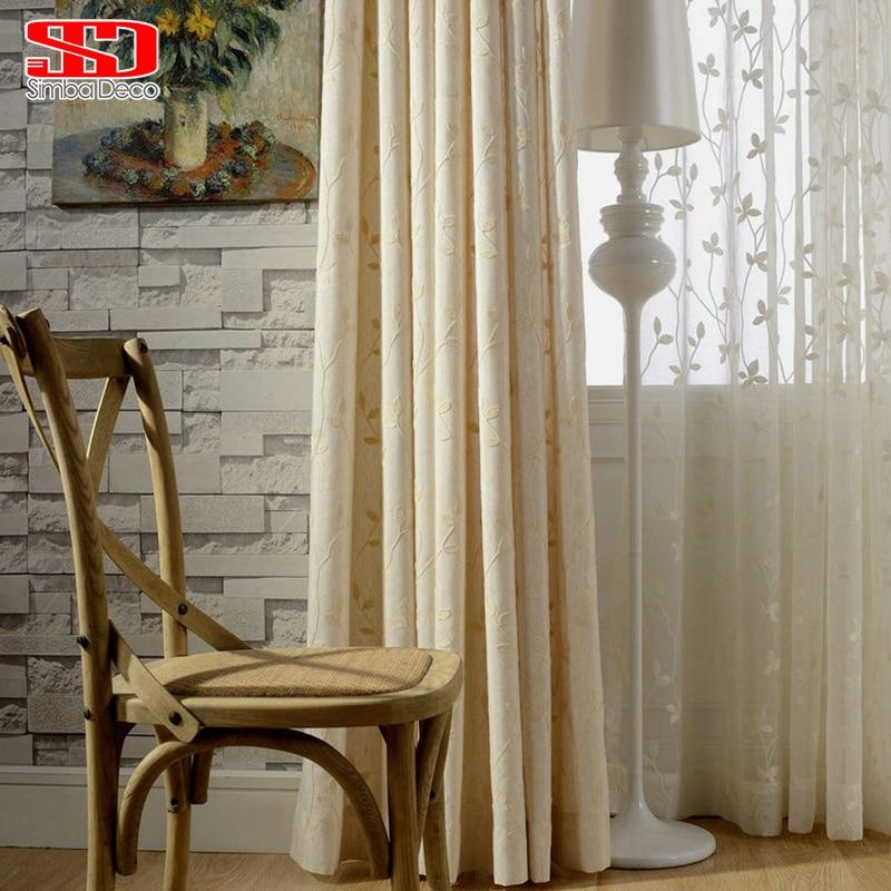 Linen Pemadaman Tirai Untuk Ruang Tamu Tirai Tirai Untuk Panel Kamar Tidur Bordir Daun Katun Jendela Dapur Shading Cina