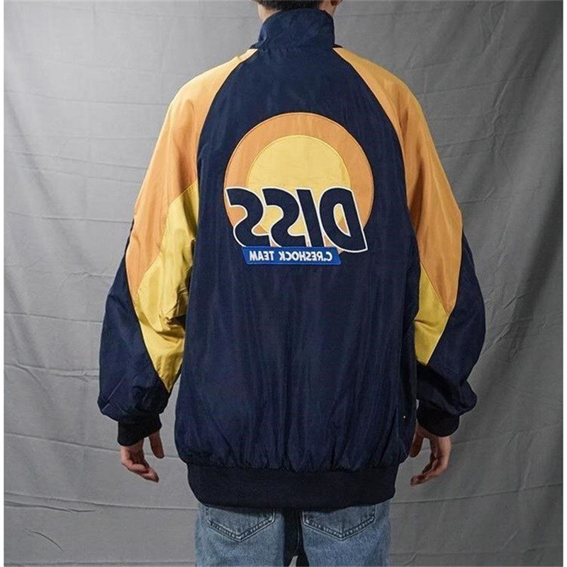 2019 SS Streetwear Funny Diss Embroidery Track Jacket Couples Retro Vintage Windbreaker Color Block Patchwork Pullover Jackets