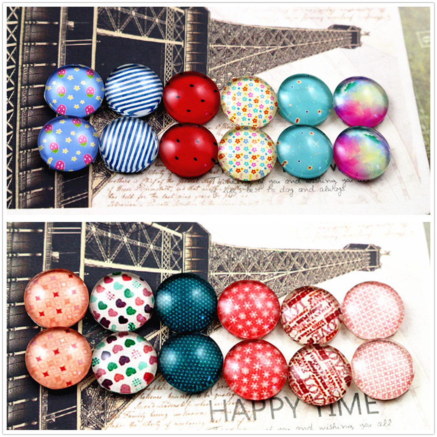 12pcs/lot (One Set) Two Style 12mm Fashion Cute Series Handmade Glass Cabochons Pattern Domed Jewelry Accessories Supplies