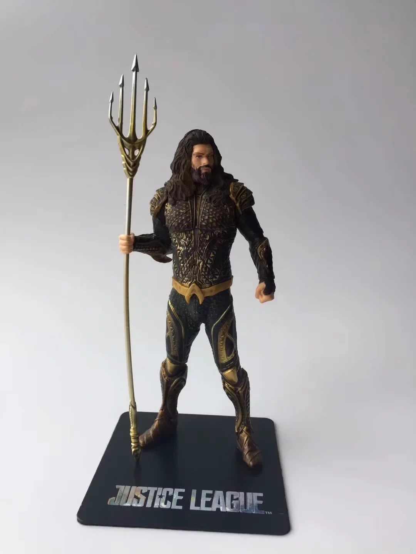 Funkos 22 cm PVC Maravilha Aparece Aquaman Action Figure Super Hero Estátua Da Liga Da Justiça com Tridente DC Figura Dos Desenhos Animados Modelo brinquedos
