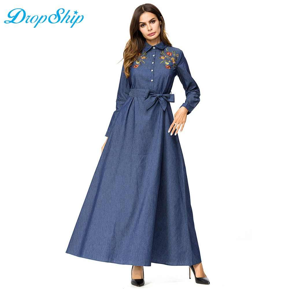 7a8f5c9e5e Dropship Casual Denim Long Maxi Tall Women A Line Swing Dress  Single-breasted Lapel Shirt
