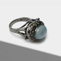 Винтаж 925 посеребренный 22 k золото преувеличены Овальный инкрустированные полудрагоценный камень синий кристалл зеленые кристаллические к