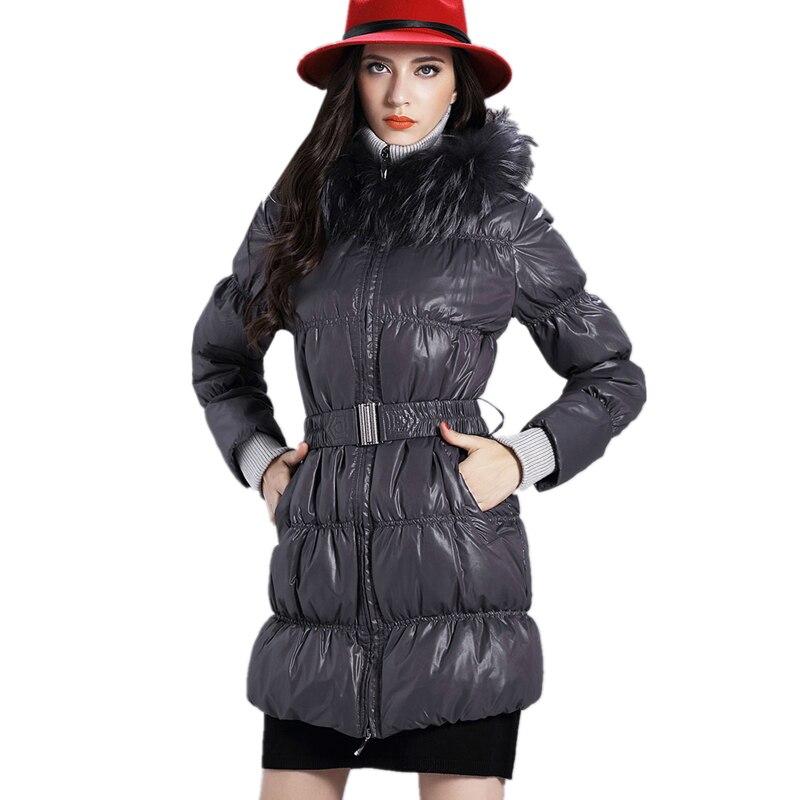 2017 Raccoon Fur Collar Warm Hooded White Duck Down Jacket Loose New Winter Women Fashion Plus Size Slim Fit Down Parka LYL241