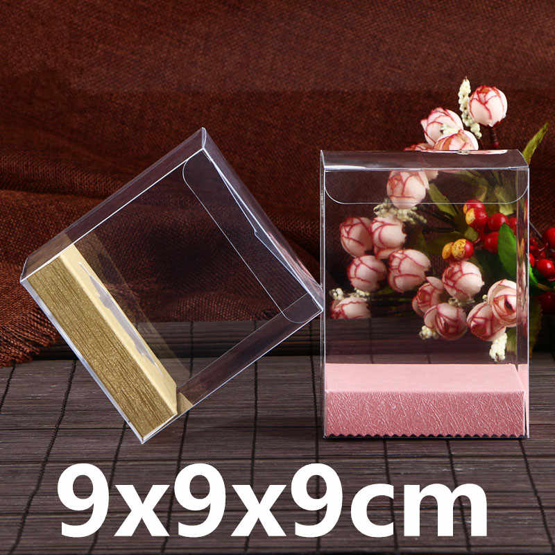 30Pcs/Lot 9x9x9cm Square Transparent Plastic Gifts Boxes for Wedding Favor Gifts and Christmas Presents Storage With Paper Base