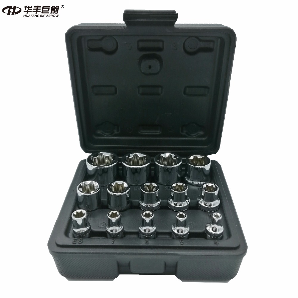 HUAFENG BIG ARROW 14PC E Torx Star Female Bit Socket Set with a Strong Case CRV 1/2/3/8/1/4 Drive E4 -E24 milda new 14pcs set e torx star female bit socket set 1 2 3 8 1 4 drive e4 e24 repair tool hand tool set high quanlity