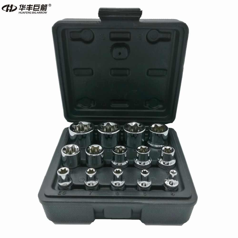 "HUAFENG BIG ARROW 14PC E Torx Star Female Bit Socket Set with a  Strong Case CRV  1/2""/3/8""/1/4"" Drive E4 -E24"