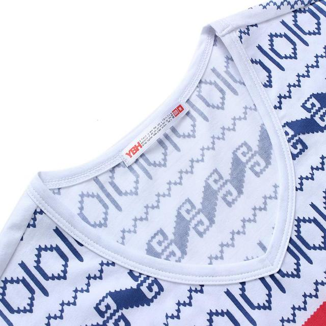 E-BAIHUI Fashion 2017 Printed Cotton V-neck Summer T-Shirt