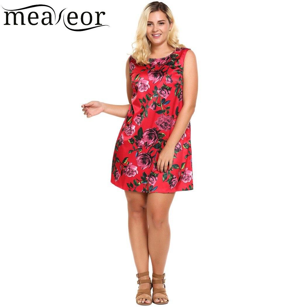 Meaneor Satin Floral Mini Dress Women Floral Print Sleeveless Short Dresses 2018 New Casual Summer Dress Vestidos