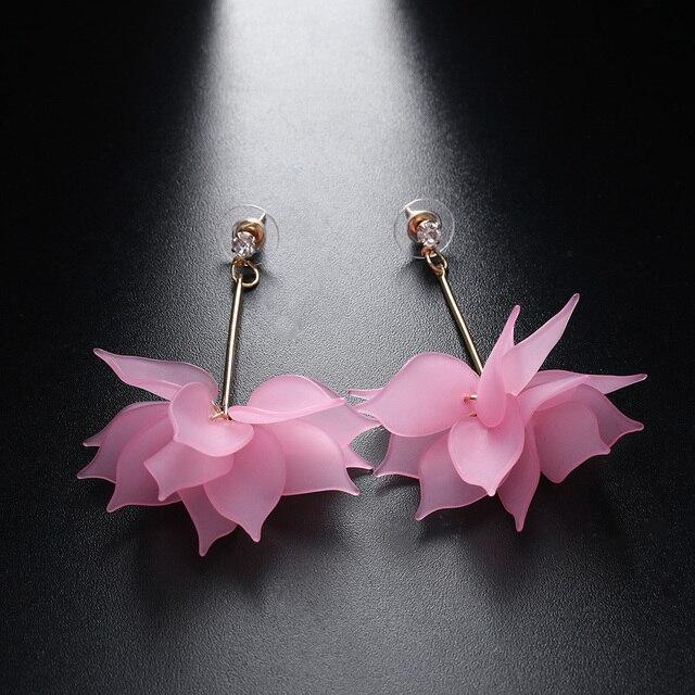 Women Colorful Elegant Crystal Flower Earrings 5