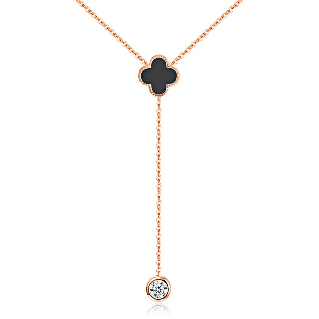 European and American fashion style rose gold lucky grass necklace