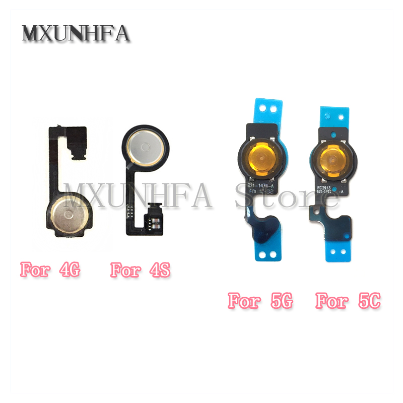 MXUNHFA 5pcs/lot Home Menu Button Key Flex Cable For IPhone 4 4G 4S 5 5G 5C Mobile Phone Flex Cables Repair Replacement Part(China)
