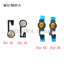 MXUNHFA 5pcs/lot Home Menu Button key Flex Cable For iPhone