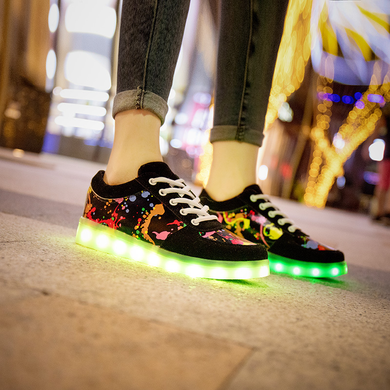 Women shoes with Backlight Glowing Women Sneakers with Glowing Shoes for men Light Up Shoes adults zapatillas Led plus size 44 size 36 43 led shoes glowing 7 colors led women fashion luminous led light up shoes for adults