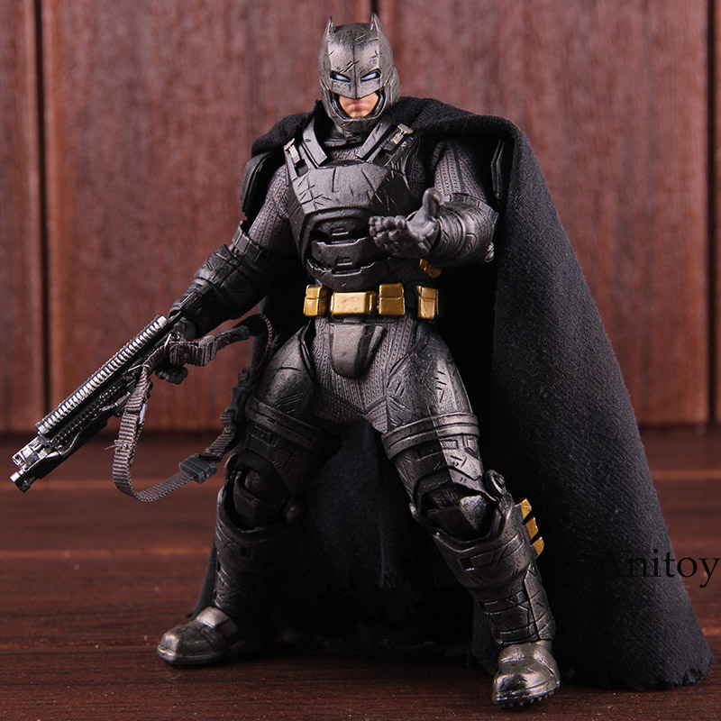 Batman V Superman Dawn of Justice Armored Batman Action Figures Toys MEZCO One 12 Collective PVC Collectible Toy with LED Light