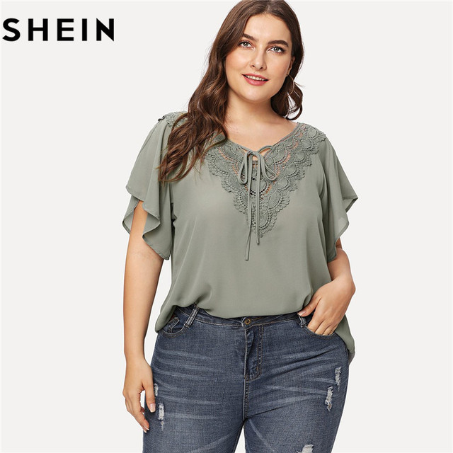 2d1124691b SHEIN Women Grey V Neck Raglan Short Sleeve Tie Neck Summer Plus Size  Blouses 2018 New Office Ladies Solid Lace Applique Tops