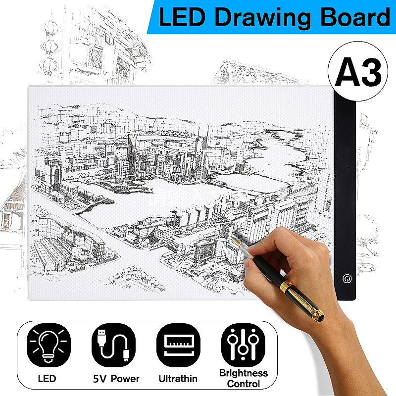 Digital tabletas A3 LED artista gráfico fino arte plantilla tablero de dibujo caja de luz de mesa de escritura LED tablero de pintura de pad