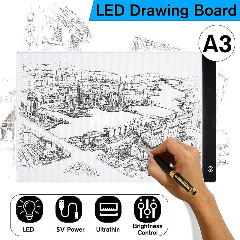 Numérique Comprimés A3 LED Graphique Artiste Mince Art Pochoir Planche à Dessin Boîte à Lumière Traçage Table Pad LED Écrire Peinture Conseil pad