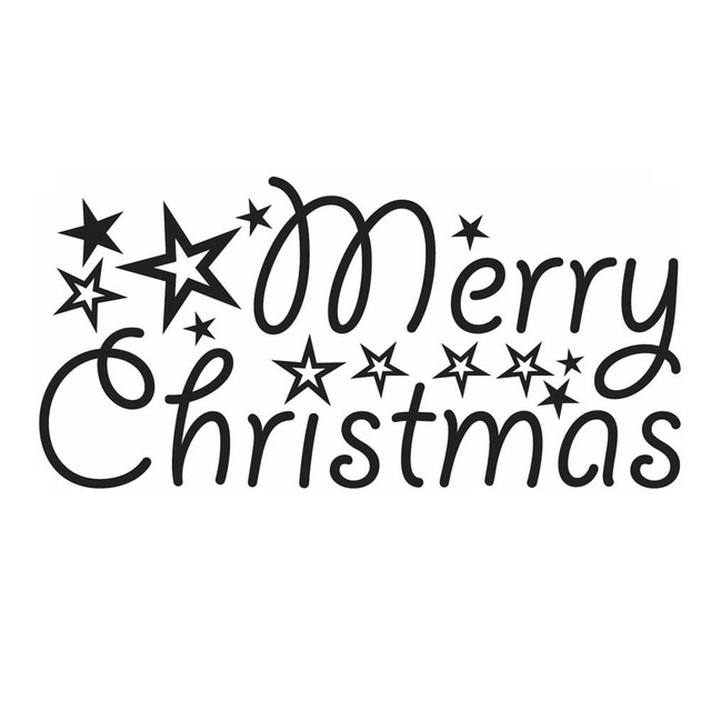 Merry Christmas words stars festival home family party decor wall ...