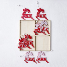 12pcs/set White Red Christmas Tree Ornament Wooden Hanging Pendants Angel Snow Bell Elk Star Christmas Decorations for Home