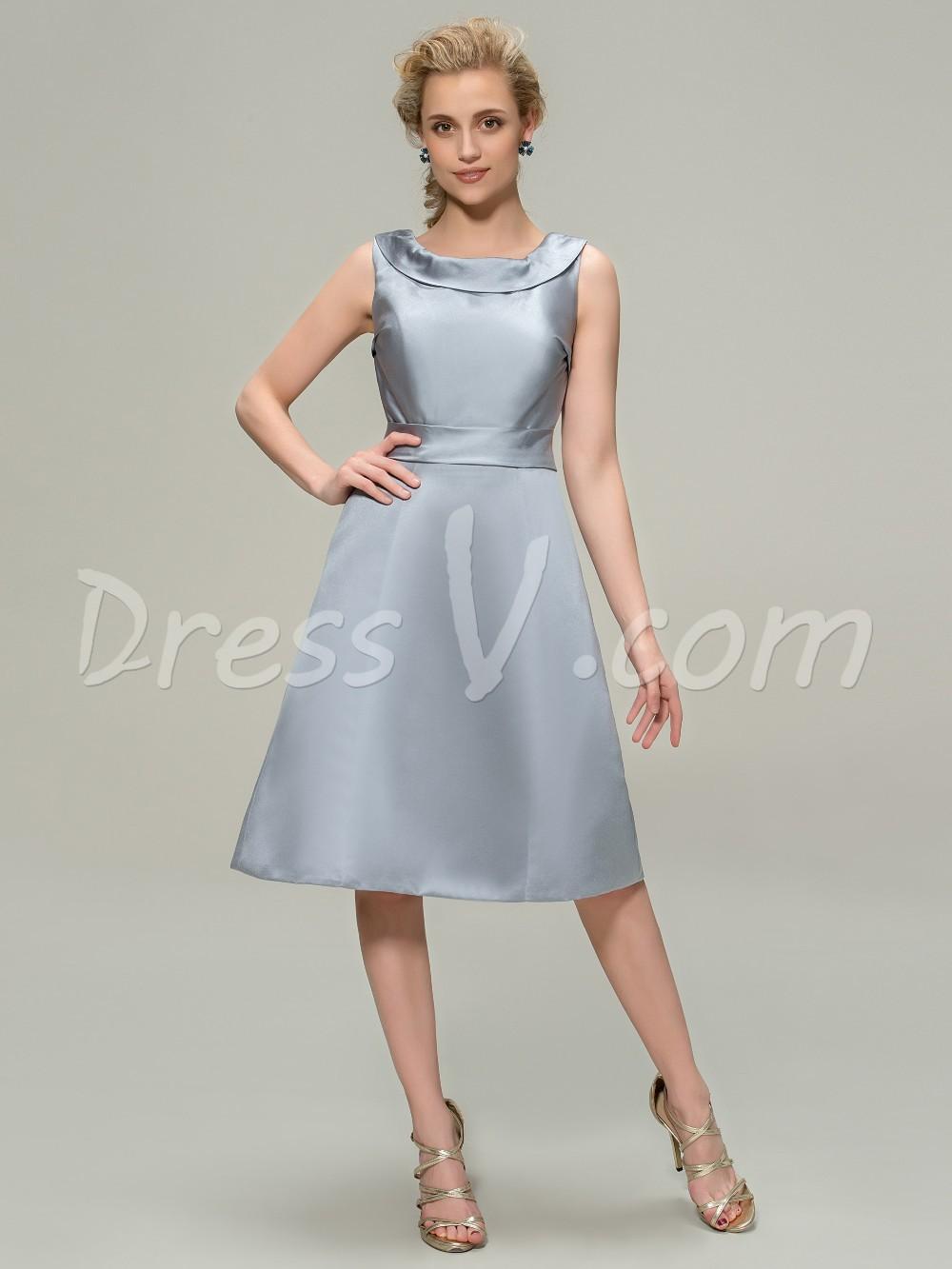 Elegant Knee Length Scoop Bridesmaid Dress Cheap A-Line Silver Satin  Bridesmaid Gown Custom Made 11304084 2f96ae160672
