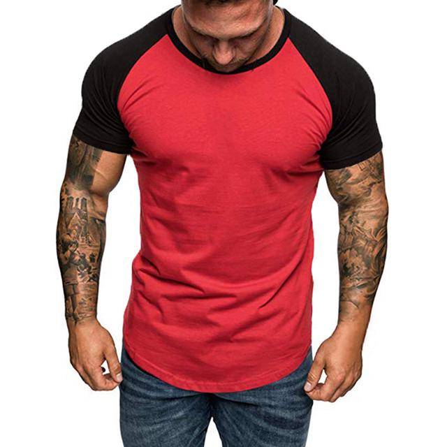 2019 Summer Brand Clothing Men's Short Sleeve Round Neck T-shirts Casual Baseball Tshirt Men Slim Tee Tops Streetwear Plus Size
