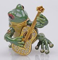 Pewter Frog Playing Guitar Trinket Jewelry Box Antique Finish - Shiny Tone Gift Box