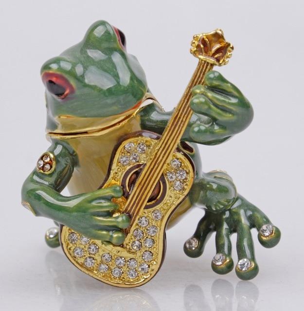 Pewter Frog Playing Guitar Trinket Jewelry Box Antique Finish Shiny