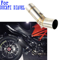 Inlet 51mm Motorcycle Exhaust Pipe Muffler Set for Ducati Diavel Motorbike Dual Exhaust Pipe Escape Damper Pipe Free shipping