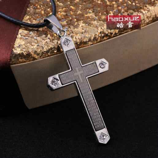 1pc Wholesales &retail Accessories cross Pendant Bible Necklace Women Silver Black Unisex's Men Stainless steel