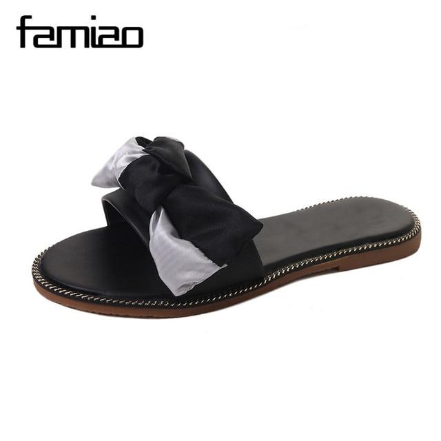 8f1a09882 FAMIAO Silk Bow Slides Women Summer Beach Shoes Woman No Fur Slippers Flat  Heels Flip Flops Ladies Rihanna Bohemia Sandals