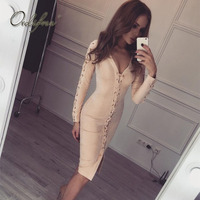 Ordifree 2019 Autumn Sexy Bandage Dress Knee Length Faux Leather Long Sleeve V Neck Lace Up Bodycon Suede Dress
