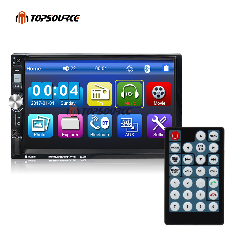 TOPSOURCE 7 Car 7080B 7 Car Video Multimedia Player HD Touch Screen FM Bluetooth Stereo Radio Car MP3 MP4 MP5 Audio USB niorfnio portable 0 6w fm transmitter mp3 broadcast radio transmitter for car meeting tour guide y4409b