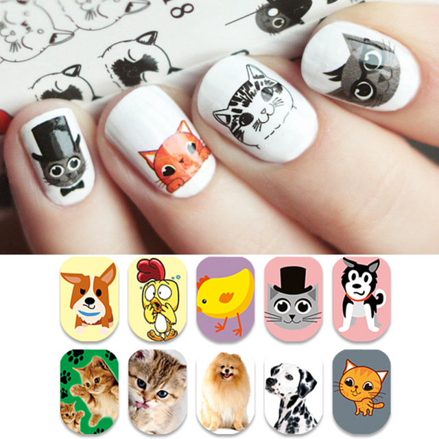 BORN PRETTY Cute Animal Series Nail Water Decal Cat Dog Rabbit ...