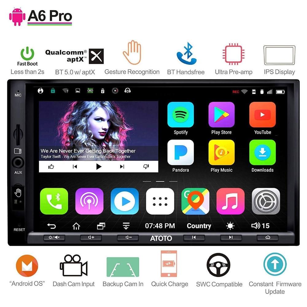 ATOTO A6 2 Din lecteur stéréo GPS de voiture Android/2x Bluetooth/A6Y2721PRB-G/opération gestuelle mains/Radio multimédia Indash/WiFi USB