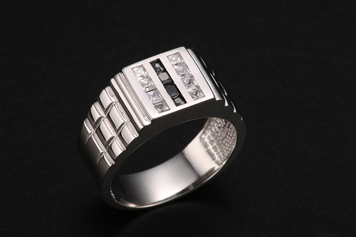 Real 925 Sterling Silver Men Ring Wedding Band Square Zircon Black