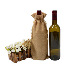 15x37cm 10pcs Single bottle stamping jute wine gift bags pouches wedding bomboniere Gift
