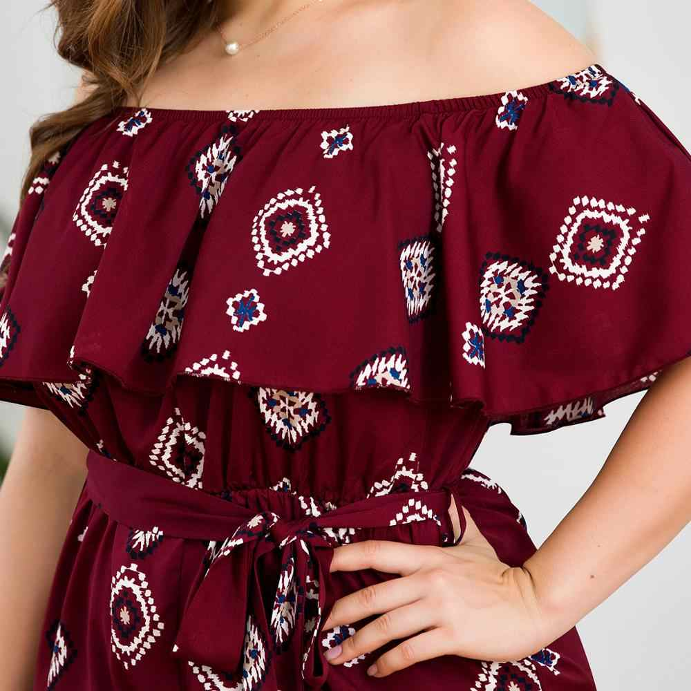 Verano talla grande 3XL 4XL Ruffles Playsuits mujeres rojo impreso Slash cuello Sashes fuera de hombro pantalones cortos sueltos verano monos