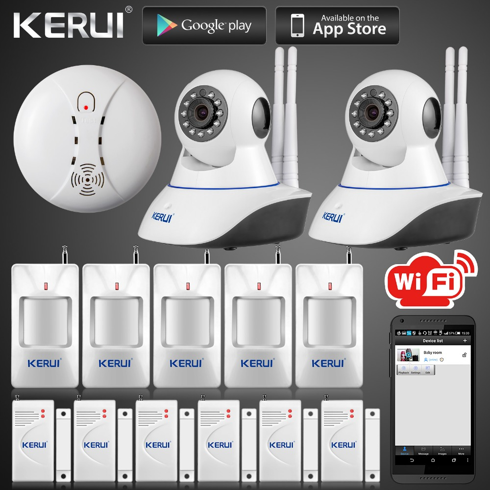 Kerui Wireless IP Wifi Camera 720P HD Wireless Smoke Detector Fire Sensor For GSM Home Security Alarm System Surveillance Device yobangsecurity touch keypad wireless wifi gsm home security burglar alarm system wireless siren wifi ip camera smoke detector