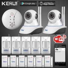 Kerui Wireless IP Wifi Camera 720P HD Wireless Smoke Detector Fire Sensor For GSM Home Security Alarm System Surveillance Device