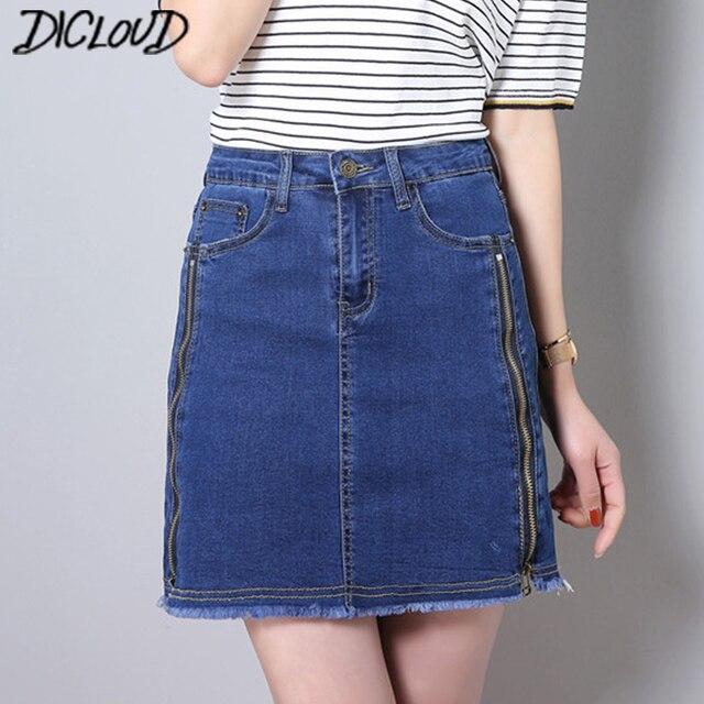b4b692d8b374 Simple Denim Skirt Women Fashion Stretch High Waist Skirts Female Harajuku  Casual Plus Size Blue Denim