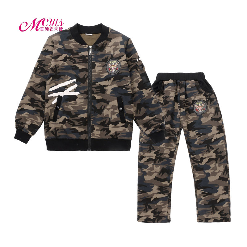 New Boys Clothes Tracksuit Set Spring Autumn Children Sports Suit Camouflage Jackets+Pants 2 Pcs Kids Clothing 5 7 9 11 13 Years